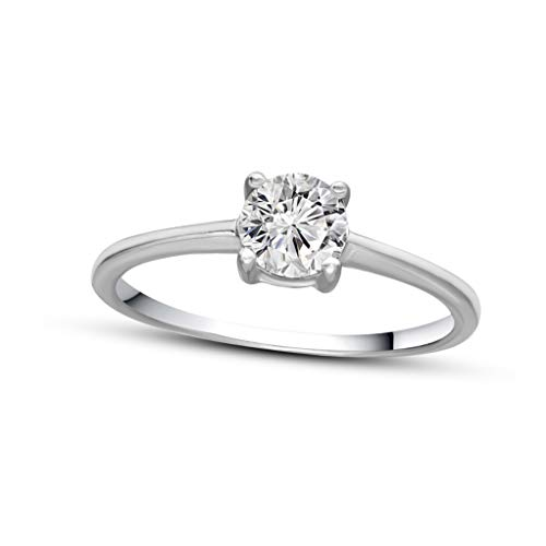 (100% Pure Diamond Solitaire Ring IGI Certified 1/3 ct Natural Diamond Ring For Women I2-I3-Clarity 14K White Gold Diamond Jewelry Gifts For Women (Jewelry Gifts For Women) (14KT White Gold, 7))
