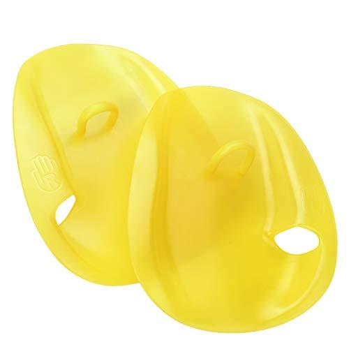 (NOHPILY Contour Swim Hand Training Paddles Swimming Exercise Gloves Palm Paddle for Swimmer Beginner (Yellow, Medium))