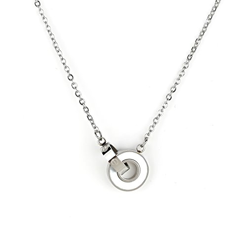 Silver Tone Screw Design - United Elegance Stylish Silver Tone Designer Necklace with Screw Design & Faux Mother-of-Pearl