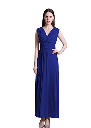 Wicky LS Women's V Neck Ruched Maxi Dress Floor Length Evening Dresses(Black Friday (Dresses For Promotion)