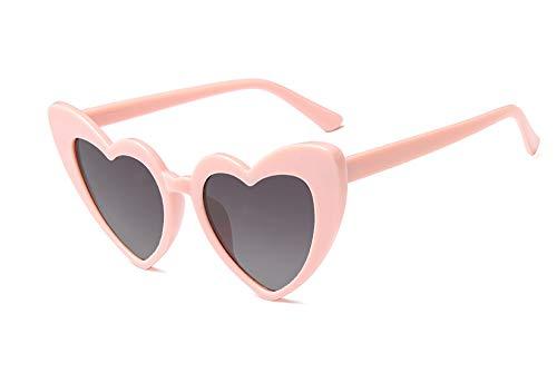 JUSLINK Heart Shaped Sunglasses for Women, Cat Eye Mod Style Retro Kurt Cobain Glasses (Pink ()