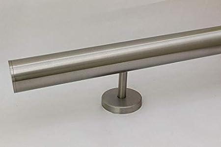 Edelstahlhandlauf L/änge 0,3m Enden mit gerade Kappe zum Beispiel: L/änge 290 cm mit 3 Halter 6m aus einem St/ück und unterschiedlichen Endst/ücken zum Ausw/ählen /Ø 33,7 mm mit gerade Halter