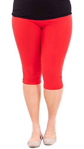 Woman Plus Size Elastic Waist Cotton Capri Leggings,Red,X-Large
