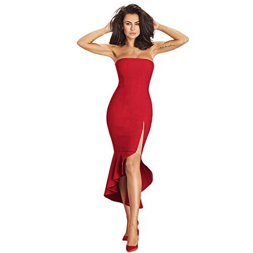 URIBAKE  Women's Sexy Warp Dresses Sleeveless Solid Irregular Hem Beach Party Evening Bodycon Prom Midi Dress Red ()