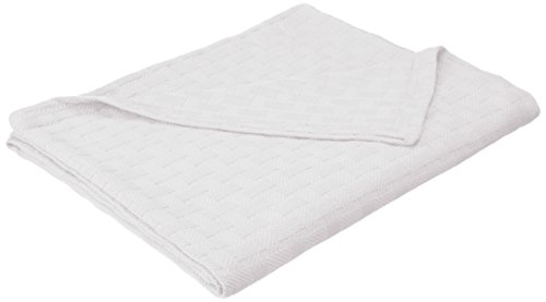 Superior 100% Cotton Thermal Blanket, Soft and Breathable Cotton for All Seasons, Bed Blanket and Oversized Throw Blanket with Luxurious Basket Weave Pattern - Twin Size, White