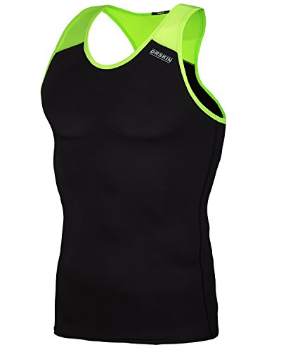 DRSKIN Undershirts Running Shirt Tank Tops Men's Cool Dry Compression Baselayer Sleeveless (Packs of 1, 2, or 3 Deals) (Manggo B-LG05 3XL)