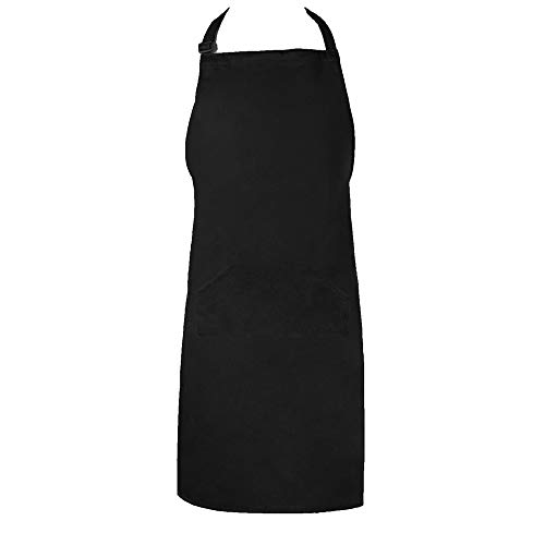 (CLOCOR Black Chef Apron - Bib Apron with Adjustable Neck & 2 Pockets & Extra Long Ties, 65% Poly / 35% Cotton, 32