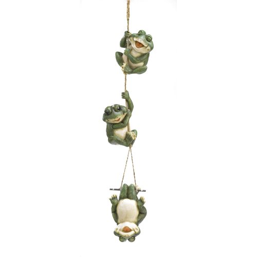 (Gifts & Decor Frolicking Frogs Hanging Garden Sculpture Decorative)