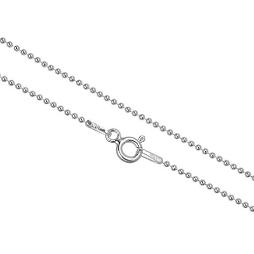 (KEZEF Sterling Silver Ball Bead Necklace Made in Italy 1.2mm Pallini 20 inch Dog Tag Chain)