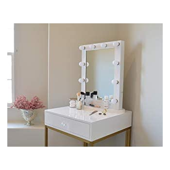 Amazon Com Glamstation Makeup Vanity Table With Mirror And Led Lights Gloss White And Gold
