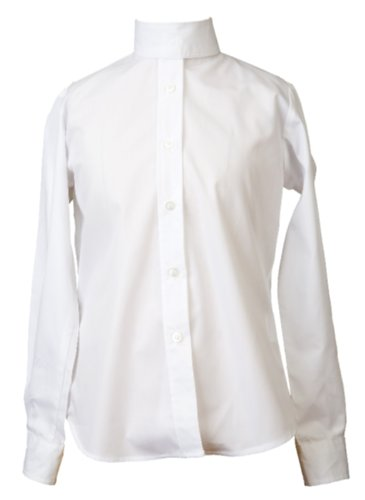 Devon-Aire Girl's Long Sleeve Concour Show Shirts, White, 12