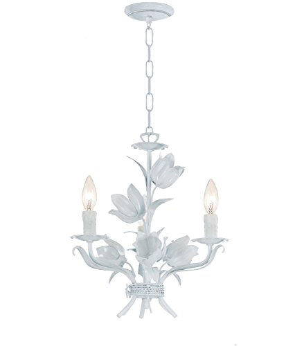 Crystorama 4813-WW Leaf, Flower, Fruit Three Light Mini Chandeliers from Southport collection in Whitefinish, ()