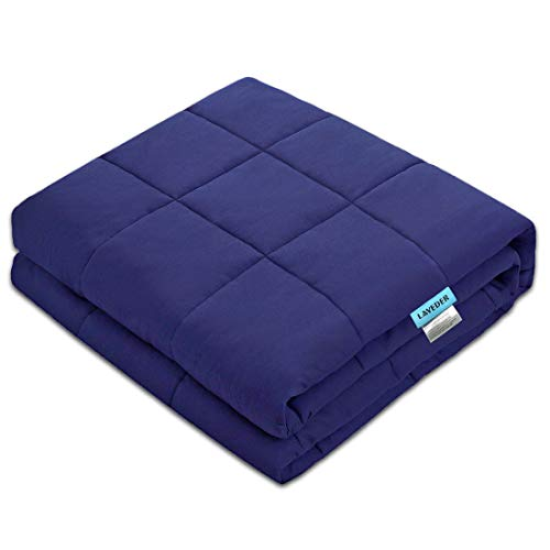 LAVEDER-Weighted-Blanket-Adults-15-lbs60x80-Navy-for-Queen-or-King-Size-Bed-100-Cotton-with-Glass-Beads