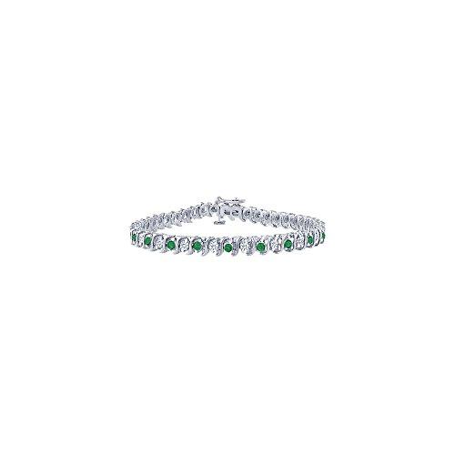 Emerald and Diamond Tennis Bracelet with 5.00 CT TGW on Platinum
