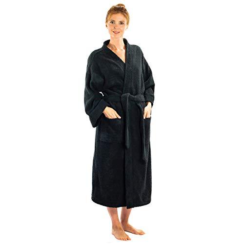 Silken Textile Unisex Adult Teenager Bathrobe   Kimono Style Robe   Premium Quality 100% Cotton   Ultra-Soft Plush (Black, Kimono   One Size)