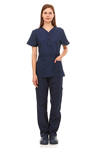 [Denice Womens Medical Uniforms Kendall Faux Belted Waist Nurses Scrubs Set 1105 (Large, Navy)] (Contemporary Machine Embroidered Fashions)