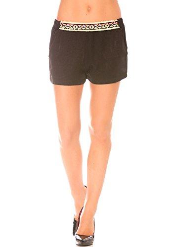 dmarkevous - Short femme Noir fluide à poches avec détails à la ceinture style aztèque - S, noir