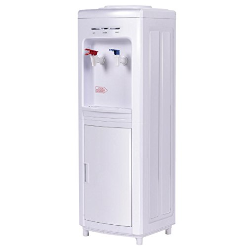 Giantex Top Loading Water Cooler Dispenser 5 Gallon Normal Temperature Water And Hot Bottle Load Electric Primo Home (White with Storage Cabinet)