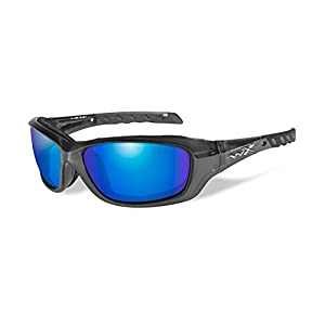 Wiley X Gravity Sunglasses, Polarized Blue Mirror, Black Crystal