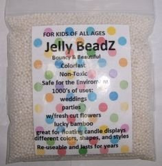 8oz -Almost 15,000 JellyBeadZ Brand Water Bead Gel - WHITE- Heat Sealed Bag- Water Pearls Gel Beads- Wedding & Event Centerpieces