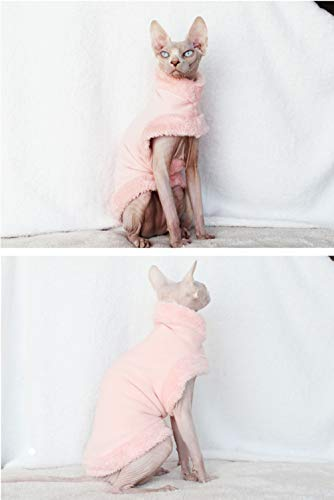 3 Colors S, White Khemn LUXURY丨HANDMADE丨Furry Super-Warm Cat Sweater Cat Pajamas with Double-Thick Fleece-Best for Hairless Cat