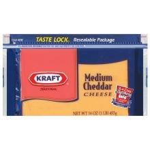 Kraft Natural Medium Cheddar Chunk Cheese, 16 Ounce -- 12 per case.