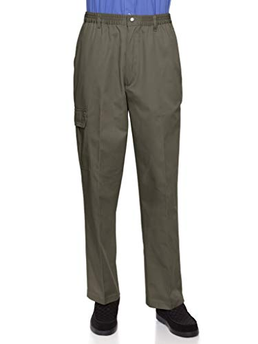 AKA Wrinkle Free Men's Full Elastic Waist Twill Casual Pant Olive Large