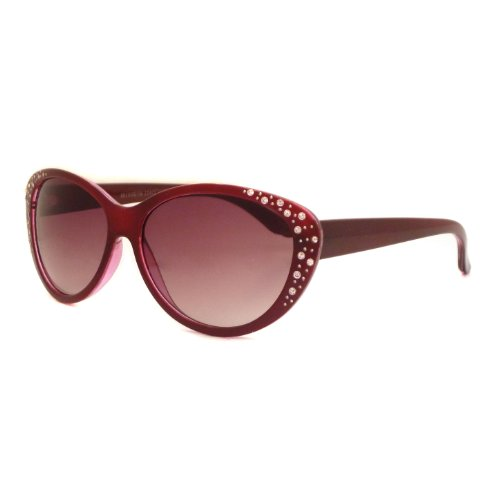 CAT EYE Style Women Vintage Oversized Rhinestone Sunglasses RED (Fifties Cat Eye Rhinestone Glasses)