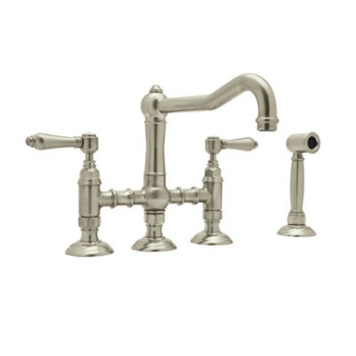 - Rohl A1458LMWSSTN-2 Country Kitchen Bridge Style Kitchen Faucet with Sidespray, Satin Nickel