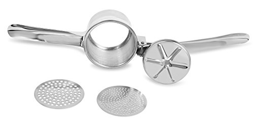 Internet's Best Chrome Potato Ricer with 2 Interchangeable