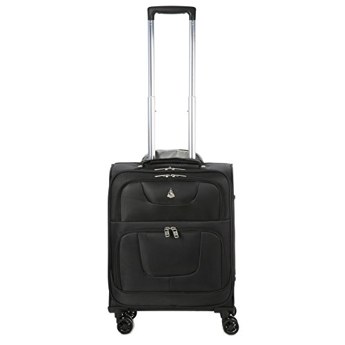"Aerolite 55x40x20cm RYANAIR MAX CABIN SIZE 38 Litre Super Lightweight Travel Carry On Hand Luggage Suitcase with 8 Wheels, Also Approved for Easyjet, British Airways and Many More! (21"", Black)"