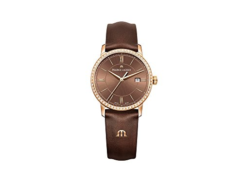 Maurice Lacroix Women's 'Eliros' Swiss Quartz Gold-Tone and Leather Casual Watch, Color:Brown (Model: - Michael Khor