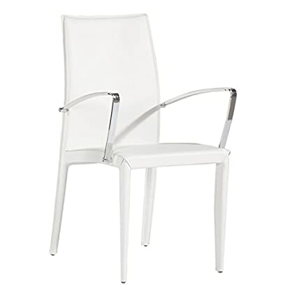 Tremendous Amazon Com Bellini Modern Living Dining Arm Chair White Caraccident5 Cool Chair Designs And Ideas Caraccident5Info