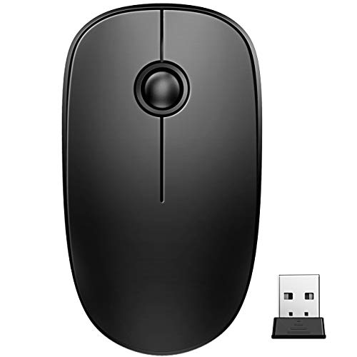 VicTsing Wireless Mouse, 2.4 G Slim Cordless Mouse with Noiseless Click, Computer Mouse with Nano Receiver for Laptop, PC, Computer, Notebook, Mac, Black