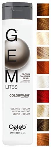 Celeb Luxury Gem Lites Colorwash: Brown Tahitian Pearl, Color Depositing Shampoo, Eliminates Unwanted Red, 10 Traditional Colors, Stops Fade, Cleanse + Color, Sulfate-Free, Cruelty-Free, 100% Vegan