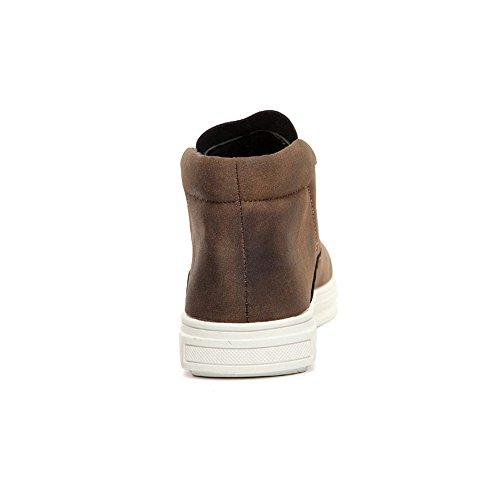 Vilocy Mens Inverno Caldo Stivali Da Neve In Pelle Intera Foderato Di Scarpe Alta Top Sneaker Mocassino Marrone