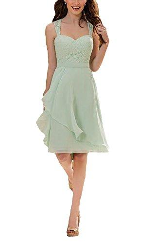 Firose Women's Short Knee Length Lace Chiffon Bridesmaid Dresses for 2017 8 Sage