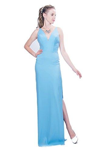Saint Toi 2018 Chiffon Floor Length Bridesmaid Dresses Elegant Wedding Evening Gowns SPD-171016 (Sky Blue, ()