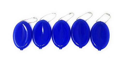 Rubber Oval Coin Purse Change Holder With Chain By Nabob 5 Pack (Blue) (Coin Oval)