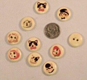 JumpingLight Lot of 20 COSTUMED Cats 2-Hole Wooden Buttons 5/8