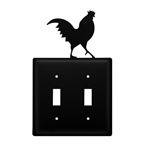 Iron Rooster Double Switch Cover - Black Metal (Switchplate Rooster)