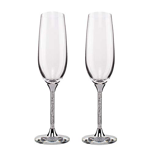 Silver Champagne Flutes - Crytstal Base & Rhinestones Fittings Wedding Glasses For Bride & Groom Toasting Cups Gift Sets for Couples Engagement, Anniversary, House Warming (Silver, Style2) ()