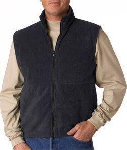 UltraClub Adult Anti-Pill Iceberg Fleece Comfort Full-Zip Vest, CHRCL, Small Charcoal