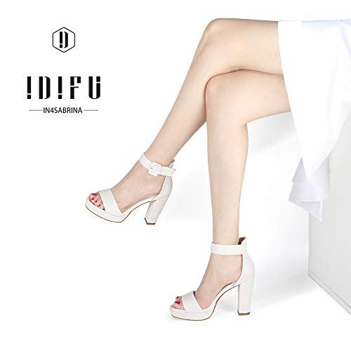 IDIFU Women's IN4 Sabrina Platform Chunky High Heels Ankle Strap Heeled Sandals Wedding Party Dress Shoes