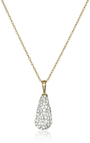 10K Yellow Gold Swarovski Elements Pear Pendant Necklace (1 cttw), 18