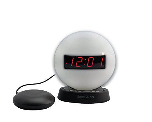 The Sonic Glow Nighlight Alarm Clock with recorable alarm and Sonic Bomb bed shaker