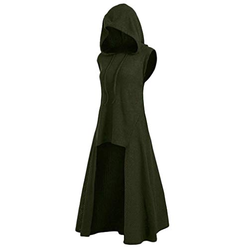 Respctful✿Women Halloween Costumes Plus Size Sleeveless Hooded Vintage Cloak High Low Pullover Sweater Blouse Tops ()