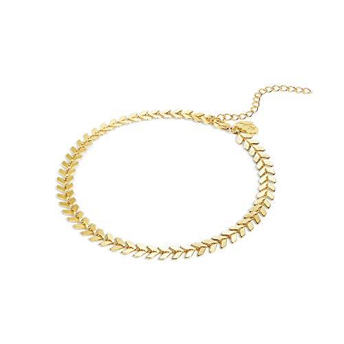 - LOYATA Multicolor Boho Anklet, 14K Gold Plated Dainty Ankle Bracelet Enamel Arrow Fishbone Chevron Link Chain Foot Jewelry for Women