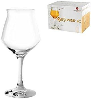 Borgonovo - Juego de 6 Copas de Cristal para Cerveza, 40 cl, Transparente