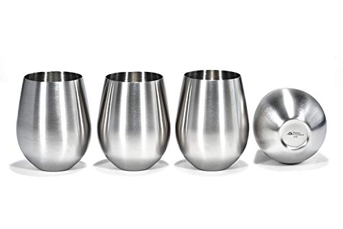 (Stainless Steel Wine Glasses, Set of 4, 18 Oz Unbreakable Stemless Wine Glass – Premium Grade 18/8 Stainless Steel Portable Wine Cup BPA Free Great for Daily, Formal and Outdoor Use)